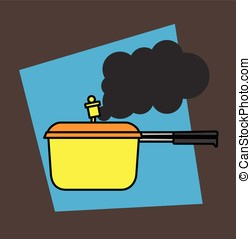 Pressure Cooker Steaming Vector Illustration
