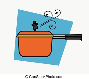 Pressure Cooker Steam Vector Illustration