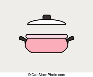 Hot Pot with Lid Vector Illustration