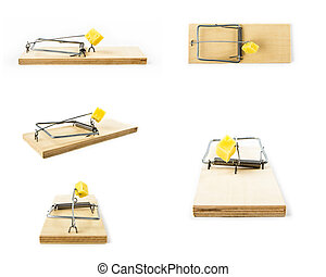 Mousetraps with cheese isolated on white background. Collage...