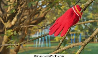Red children's glove hanging on a branch in the autumn in...