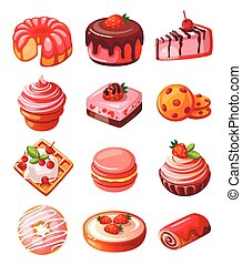 Vector set of icons sweets - Vector set of icons isolated...