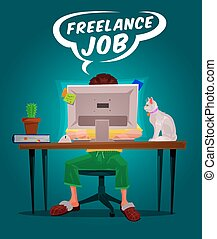 Vector illustration of a man freelance