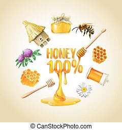 Set of vector honey icons.