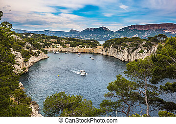 White sailing boat - National Park Calanques on the...