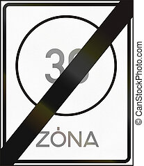 Road sign used in Hungary - End of maximum speed limit zone.