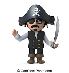 3d Pirate captain waves a nautical hello - 3d render of a...