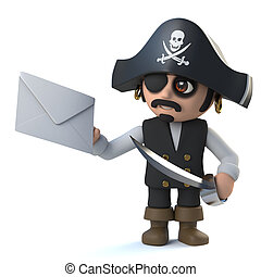 3d Pirate captain has mail