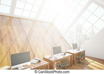 Loft office interior - Side view of loft office interior...