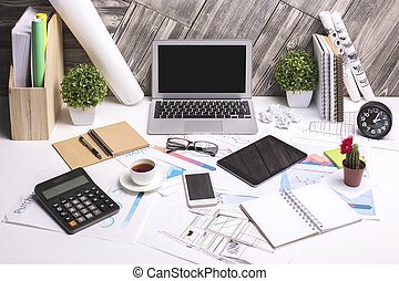 Workspace with electronic devices - Modern office workspace...