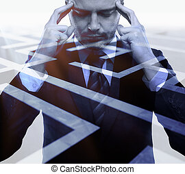 Business challenge concept - Pensive young businessman on...