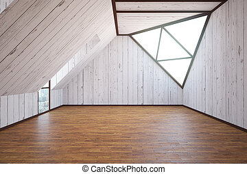 Wooden loft interior with abstract triangual windows and...