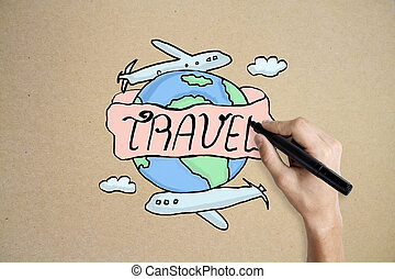 Traveling concept - Hand drawing creative travel sketch on...