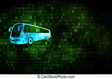 Vacation concept: Bus on digital background - Vacation...