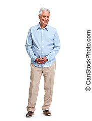 Senior man. - Handsome elderly man portrait isolated over...