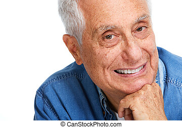 Senior man smile. - Happy smiling elderly man portrait...