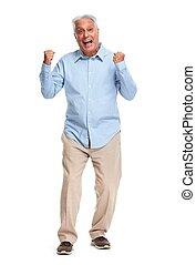 Happy senior man. - Happy elderly man portrait isolated over...