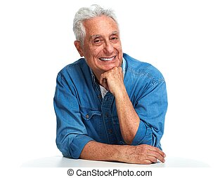Aged man portrait. - Smiling elderly man portrait isolated...