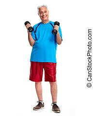 Senior man with dumbbell. - Elderly man with dumbbell...