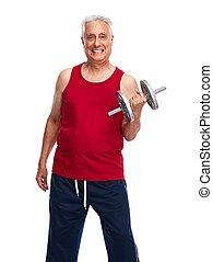 Senior man with dumbbell. - Elderly man with dumbbell...