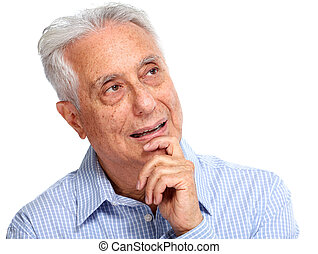 Senior man portrait. - Thinking elderly man portrait...