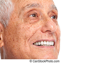Senior man smile. - Happy smiling elderly man face isolated...
