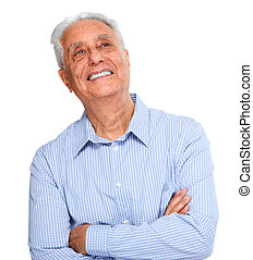 Senior man portrait. - Smiling elderly man portrait isolated...