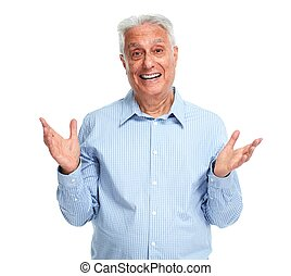 Happy senior man. - Happy elderly man portrait isolated over...