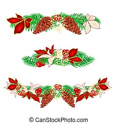 Christmas decoration garlands with pine cones set of three...