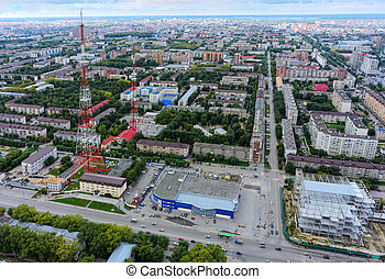 Tyumen city and two TV towers. Russia - Bird eye view on bus...