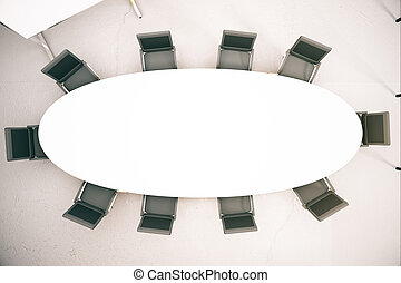 Empty conference table - Top view of empty conference table...