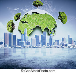 Eco business concept - Abstract globe with green trees on...