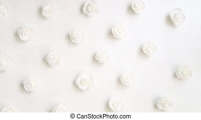 roses heads on a vintage background - beautiful white roses...
