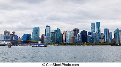 Panorama of Vancouver Downtown Skyline From Stanley Park -...