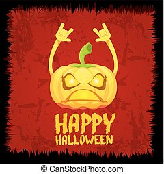 pumpkin rock n roll style halloween greeting card - Happy...