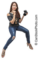 Beautiful young girl with the camera