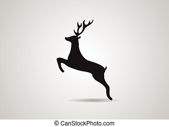 Black silhouette of deer vector illustration icon isolated