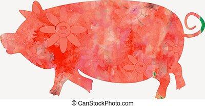 Watercolour Pig - A silhouette of a cartoon pig designed...