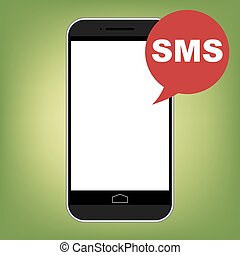 Modern smart phone with SMS icon