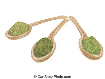 dried herbs in wooden spoon isolated on white