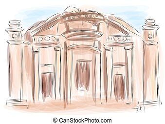 petra. ancient temple on multicolor background
