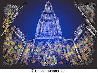 christmas new york city. abstract stylized illustration