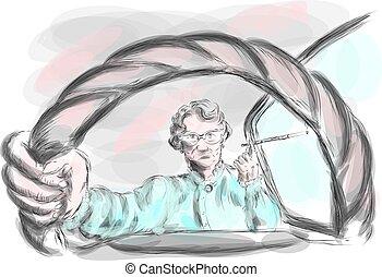 elderly people. an elderly woman in the car