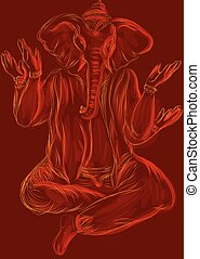 ganesh. abstract vector illustrtion on red background