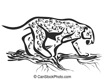 jaguar abstract silhouette isolated on white background