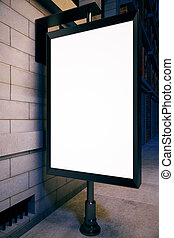 Advertisement concept - Closeup of blank ad poster outside...
