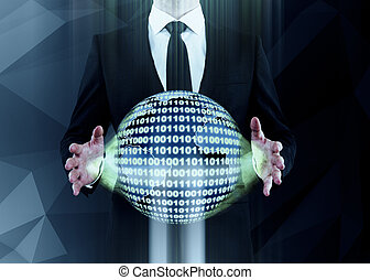 Man holding binary code sphere