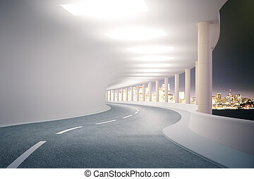 Tunnel with night city view