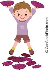 Boy with a sweet potato - Vector illustration.Original...