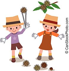 Children to be picking up chestnuts - Vector...